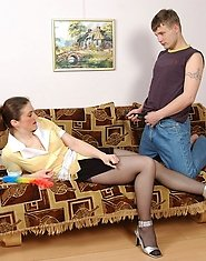 Naughty French maid mom getting her black tights covered with sticky juice