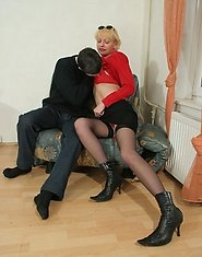 Oral sex with horny mature in stockings
