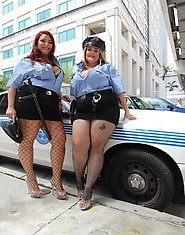 2 Cock busting cops Lisa Canon and Kandi Kobain bust a crime committing dick.