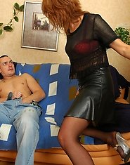 Trendy milf getting in-heat and going for a young stud to satisfy her itch