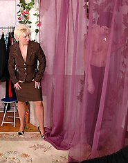 Clothes trying on ends somewhat unexpectedly for eager guy and mature chick