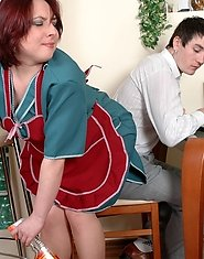 Nasty mature French maid in full-fashioned tights having time for screwing