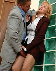 Seductive mature business-lady in nylon tights getting banged in doggystyle