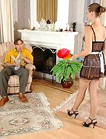 Slutty French maid in barely visible nylons getting banged in all her fours