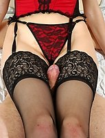 Lewd gal in sexy nylons is a leading party while fucking with blindfold guy