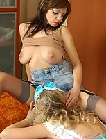 Heated babe sweet talking a white-stockinged French maid into sapphic love