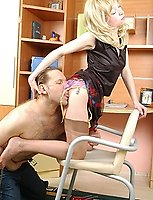 Horny guy licking plain welt before poking blondie in soft gloss stockings