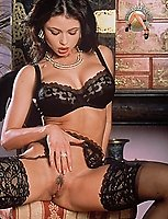 Veronica Zemanova black lacy lingerie and stockings with garters posing