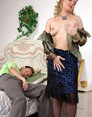 Stockinged mature and a horny chap fall asleep after outrageous coupling