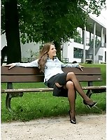 Brunette Flashes In The City In Her Black Lace Top Stockings And No Panties