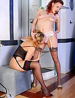 Lesbi girlfriends changing their nighties for luxury stockings and lingerie