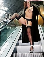 Brunette Flashes On An Escalator In A Shopping Mall In Stockings