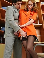 Awesome secretary in full-fashioned stockings bending over for hot dicking