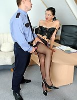 Lewd policeman thoroughly examining every hole of a gal in sheer stockings