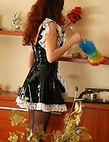 Kinky French maid in classy stockings parting her pussy lips with panties
