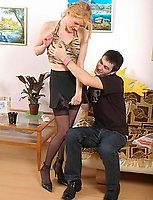 Suck-n-ride action bound to have creamy finale for a cutie in sheer nylons