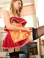 French maid in satin sheen stockings ready to do her daily fucking chores