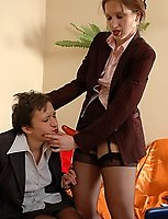Black-stockinged office girls turning their smoking break into strap-on one