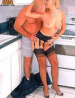 Blonde whore fucked hard in kitchen