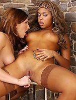 Well-shaped chick in tan lace top stockings getting her soaking pussy eaten