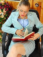 Lusty secretary in white nylons offers female client to play licks-n-slits