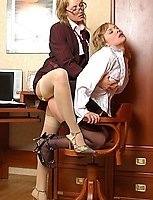 Hot secretary seducing her stockinged female co-worker into licks and slits