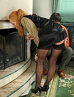 Blondie in glossy stockings and well-hung guy ideally match for hot fucking