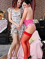Nasty brunette goes lesbo sneaking newly bought pink undies and red nylons