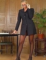 Dirty Receptionists Upskirt Pantyhose Teasing Across The Office