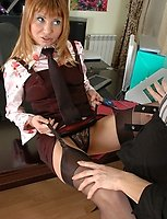 Office girl in red top stockings admired and fucked by strap-on armed babe