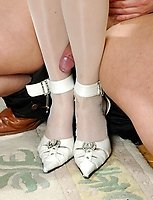 Blondie in white lace top stockings dildotoying before giving great legjob