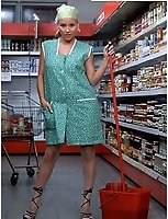 Cleaner In White Nylons In A Supermarket Store