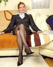 Naughty mature babe in control top hose and her co-worker going for a score