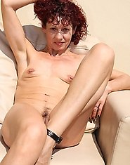 Skinny mature slut in horny action