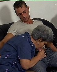 Grandma swallows and fucks younger cock