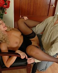 Curly mature chick getting her pussy lips spread with young cock on stool