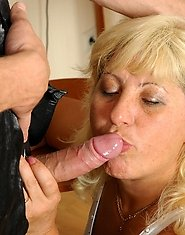 Plump blonde mom getting her snatch stimulated with a toy before a hot fuck