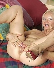 Nasty granny plays with her favourite toys