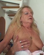 Granny slut seduces him in her skirt and white stockings and he fucks that hole hard