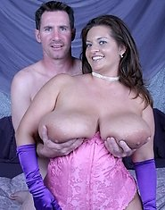 Maria Moore and her huge perky tits in the tight pink corset get plowed hard by her lucky boyfriend